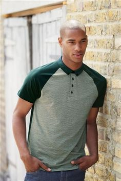 Green Jacquard Front Polo