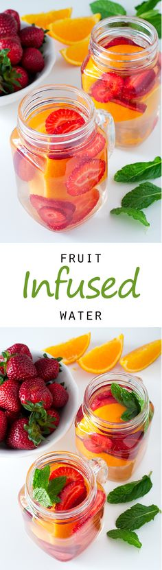Beste DIY Detox Wasser und Rezepte - Fruit Infused Detox Water - Homemade Detox W . Infused Water Recipes, Fruit Infused Water, Fruit Water, Infused Waters, Flavored Waters, Fruit Juice, Fruit Smoothies, Fruit Fruit, Strawberry Smoothie