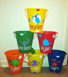 Personalized Sand Bucket, Sand Pail- Great Party Favors. $10.00, via Etsy.