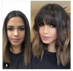 Makes me want bangs again hair hair, hair transformation, ha Short Thin Hair, Short Hair Cuts, Short Blonde, Medium Hair Styles, Short Hair Styles, Medium Curly, Medium Long, Shoulder Length Hair, Hair Transformation