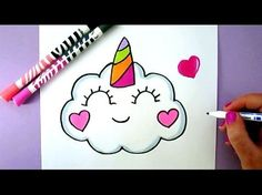 How to Draw Rainbow Cute Panda Unicorn EASY - Como Dibujar una panda kawaii facil - YouTube