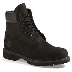 Timberland 'Premium' Boot ($190) ❤ liked on Polyvore featuring men's fashion, men's shoes, men's boots, men, shoes, boots, menswear, black, mens waterproof shoes and mens black shoes