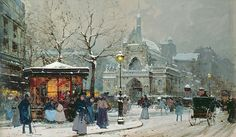 Snow Scene in Paris Eugene Galien-Laloue