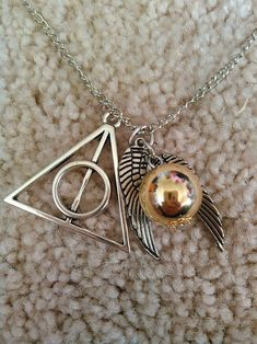 Silver Harry Potter Deathly Hallows & Golden Snitch Necklace USA SELLER