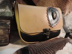Hand made leather purse- inlayed Agate stone Striking colors-2 tone black and marbelized light brown by RoundOakLeather on Etsy
