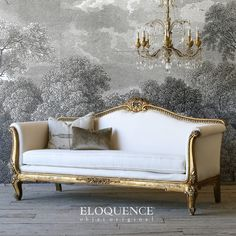 Louis XV Vintage Bright Distressed Gilt Daybed