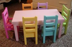 Items similar to Doll Dining Table and Chairs Set for American Girl Dolls or Dolls on Etsy American Girl Furniture, Girls Furniture, Barbie Furniture, Dollhouse Furniture, Furniture Plans, Painting Kids Furniture, Painting For Kids, Doll Crafts, Diy Doll