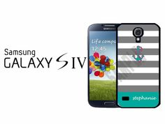 Samsung Galaxy S4 Case  Grey Stripes Teal Anchor by CrazianDesigns, $15.99