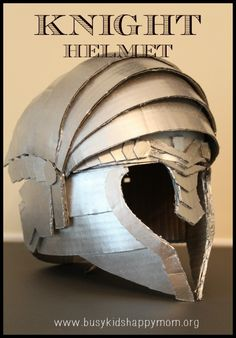 Looking for an easy way to make a knight helmet this Halloween? Try this DIY cardboard helmet kit for an awesome kids knight helmet. Diy Knight Costume, Knight Costume For Kids, Cosplay Armor, Cosplay Diy, Armadura Cosplay, Warrior Helmet, Knights Helmet, Photos Booth, Paper Mask