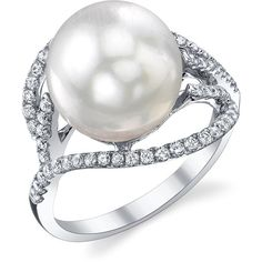 South Sea Pearl & Diamond Sophia Ring (6.560 RON) ❤ liked on Polyvore featuring jewelry, rings, white, pendant jewelry, diamond pendant, 18 karat gold jewelry, 18 karat gold ring and diamond jewelry set