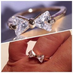 18k GF White Sapphire Bow Ring 6 Available White sapphire bow ring 18k gold filled. Very elegant sure to get comments. New! Please don't buy this listing I will make you one. Jewelry Rings