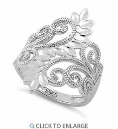 Sterling Silver Elegant Swirl Leaves Ring