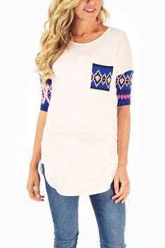 White Royal Blue Tribal Accent Maternity Top