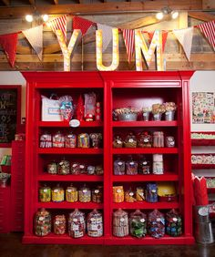 The kid in me wants a bookcase full of candy jars for the game room. My kids, family and their friends will love me :)