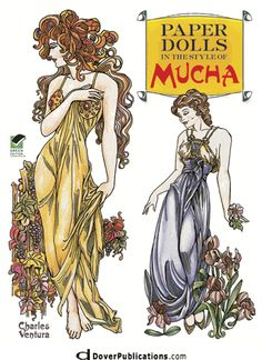 Paper Dolls in the Style of Mucha-- with sample pages.