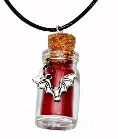 Gothic Bats Blood Bottle Pendant Necklace. Hand Made in Cornwall, UK by thelongwayround on Etsy