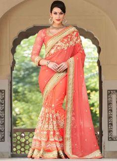 Stunning Peach Net Mirror Embroidery Work Half And Half Bridal Sarees http://www.angelnx.com/Sarees/Bridal-Sarees