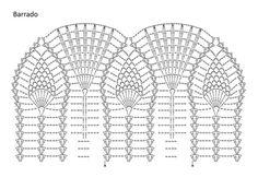 Material: - 2 novelos de Anne na cor 8001; - Ag. para crochê Círculo nº 1,75mm, - 1 ziper branco com 45 cm de comprimento. Tamanho – 38/40        Ponto utilizado Ponto fantasia: siga o gráfico. Barrado: siga o gráfico. Correntinha (corr.). Ponto baixo