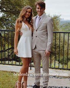 homecoming couples Sexy V Neck Short Cocktail Dress,Semi Formal Dresses,White Satin Homcoming Dress,Mini Prom Dress on Storenvy Prom Pictures Couples, Prom Couples, Prom Photos, Cute Couples, Cute Homecoming Pictures, Homecoming Guys Outfits, Homecoming Poses, Prom Pics, Teen Couples