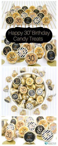 Black and Gold 30th birthday party favor stickers that will be a sure hit at your party. Perfect on Kisses, Mints and more. #30thbirthday