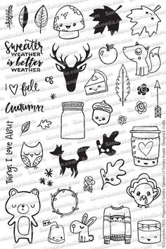 The Sassy Club Planner Stamps Fall Planner Doodles - Clear Stamp Set