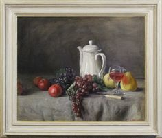 George Weissbort (1928-2013), The white coffee pot, with fruit & wine (1962), oil on canvas laid on board, 50.2 x 61 cm. Reproduction 18th century Italian 'Salvator Rosa' frame with painted finish