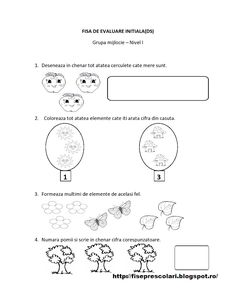 FISE de Evaluare Initiala grupa MIJLOCIE - DS - DLC - DOS | Fise de lucru - gradinita Preschool Worksheets, Preschool Activities, Math 2, Math For Kids, Flower Crafts, Kids Playing, Kindergarten, Teaching, 1 Decembrie