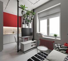 Delimitar os ambientes em um apartamento pequeno não é tarefa fácil, já que o próprio espaço inviabiliza o uso de móveis que podem ajudar na tarefa.