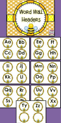 $1 These adorable word wall headers will be perfect in your bee themed classroom or if you just like bees!  Simply print, laminate, cut and display! You may wish to staple them to a bulletin board or use a ribbon underneath to hang words with a clip so that the word wall will be interactive! Classroom Charts, Classroom Design, Kindergarten Classroom, Future Classroom, Classroom Themes, Classroom Organization, Seasonal Classrooms, Toddler Classroom, Montessori Elementary