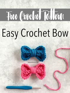 crochet bow pattern Use this free crochet pattern to make a bow perfect for adding that finishing touch you need for a bag, hat, ear warmer and more! Crochet Bows Free Pattern, Crochet Gratis, Easy Crochet Patterns, Crochet Motif, Crochet Stitches, Crochet Embellishments, Quick Crochet, Cute Crochet, Crochet Baby