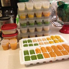Home-made baby food extravaganza! Peas, sweet potatoes, squash, pears, apples, nectarines! Yum. Love wholesomebabyfood.momtastic.com