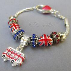British Pride European Charm Bracelet w/ Union Jack, Double Decker Bus