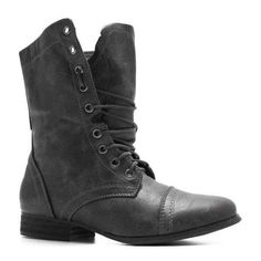 WOMENS GREY COMBAT MILITARY WORK ARMY BOOTS SIZE ❤ liked on Polyvore
