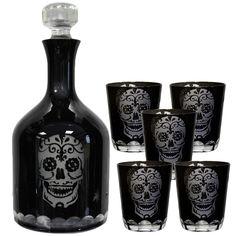 Nemesis Now Gothic Skull Glasses, Set of 2 Black Glass Sugar Skull Tumblers 10cm - £19.99 :From ANGEL CLOTHING