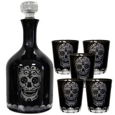 Nemesis Now Gothic Skull Glasses, Set of 2 Black Glass Sugar Skull Tumblers 10cm - £19.99 :From ANGEL CLOTHING