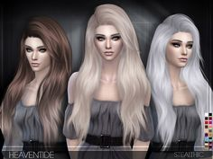 Stealthic – Heaventide (Female Hair) for The Sims 4 Women's Hairstyle by Stealthic Available at The Sims Resource DOWNLOAD -Compatible with hats-18 Colors-All LOD's-Teen through elder-No body morphs-Smooth weighting-Crash fix I hope you all like this one  Check creator notes if you're having issues. Creator Notes Make sure you aren't in laptop mode! And make sure you are updated to the latest sims version or it won't show in game.Please don't retexture my hair …