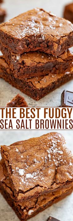 The Best Fudgy Sea Salt Brownies Only 7 ingredients in these EASY one-bowl no-mixer brownies that are MY NEW FAVORITE BROWNIES! Super fudgy slightly chewy edges crackly top and ultra dark chocolate paired with sea salt for the HOLY GRAIL of brownies! Easy No Bake Desserts, Delicious Desserts, Dessert Recipes, Chef Recipes, Baking Recipes, Bar Recipes, Recipies, Best Sweets, Best Brownies