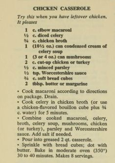 A casserole recipe without cheese! Retro Recipes, Old Recipes, Vintage Recipes, Turkey Recipes, Chicken Recipes, Cooking Recipes, Recipies, Amish Recipes, Blender Recipes