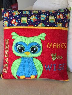 Sewing Pillows Our Fantastic KK Admin Darina is at it again! Darina has shared how she creates her beautiful Reading Pillows Book Pillow, Reading Pillow, Pillow Talk, Pillow Embroidery, Machine Embroidery Applique, Embroidered Pillows, Machine Embroidery Projects, Free Machine Embroidery Designs, Applique Designs