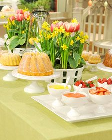 Set a sophisticated spring table for Mother's Day using classic, durable whiteware serving pieces.