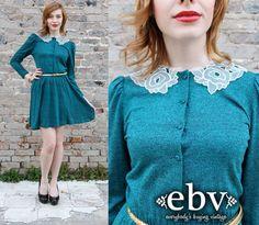 #Vintage 80s Teal Secretary Day Mini Dress S M by shopEBV on Etsy, $45.00