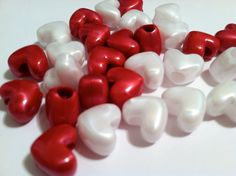 Happy red white valentine plastic heart by ChildrenDreamBig, $1.75
