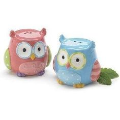 NEW Whimsical Owl Salt & Pepper Shakers Adorable Kitchen Decor