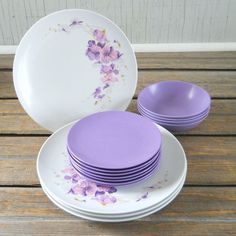 Vintage Texas: Ware Melmac Dinnerware Set--- Plates Bowls Purple Pansies on Etsy, $18.00 Melmac Dinnerware.