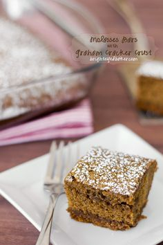 One-bowl Molasses Bars with a Graham Cracker Crust-Blackstrap Molasses a great source of iron.