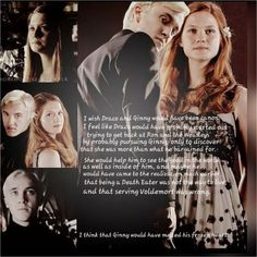 I wish Draco and Ginny would have been canon. I feel like Draco would have probably started out trying to get back at Ron and the Weasleys by probably pursuing Ginny, only to discover that she was. Harry Potter Couples, Harry Potter Ships, Harry Potter Characters, Percy Jackson, Nerd Room, Bonnie Wright, Tom Felton, Draco, The Wiz