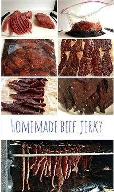 DIY Beef Jerky done in your oven at home! MJ note: Used coconut aminos not soy sauce, garlic powder not garlic salt, 1 tsp of pepper not 1 T, smoked paprika instead of regular, 3 tsp fermented garlic chili sauce instead of siracha and red pepper flakes Simple Beef Jerky Recipe, Homemade Beef Jerky, Deer Jerky Recipe In Oven, Smoked Meat Recipes, Beef Recipes, Cooking Recipes, Healthy Recipes, Oven Jerky, Beef Jerky In Smoker