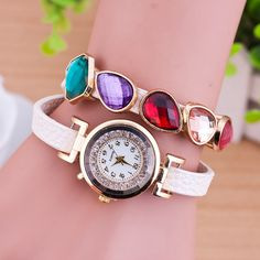 2-strand Wrap #Watch, faceted & with #Rhinestone, more colors.