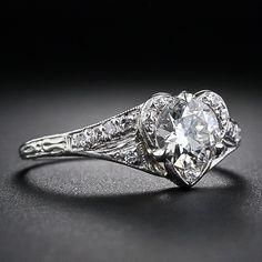 Vintage .75 Carat Diamond Heart-Shape Engagement Ring -HEART SHAPE!
