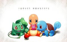 Bulbasaur, Squirtle and Charmander